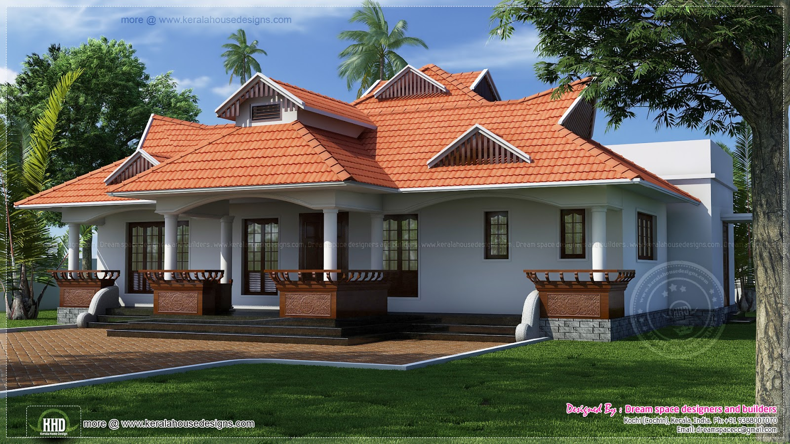Traditional kerala style one floor house style house 3d for One floor house photos