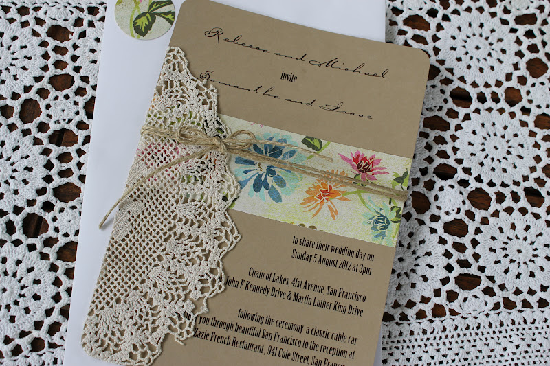 Paperdollsweddings Doily Wedding Invitation