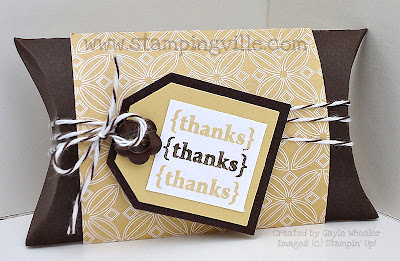 Stampin' Up! thank you gift box pillow box
