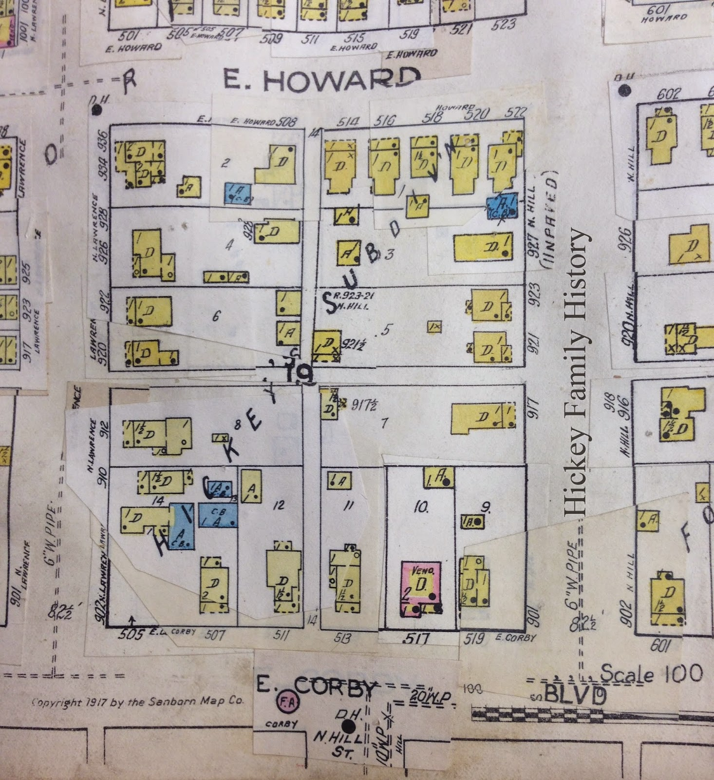1933 sanborn fire insurance map of hickey s subdivision