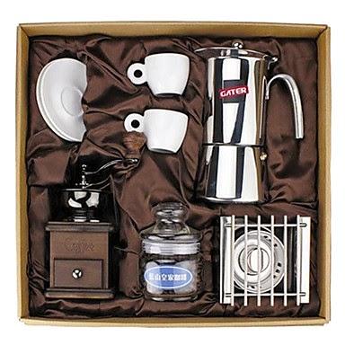 Juego completo de café con tazas, cafetera y molinillo