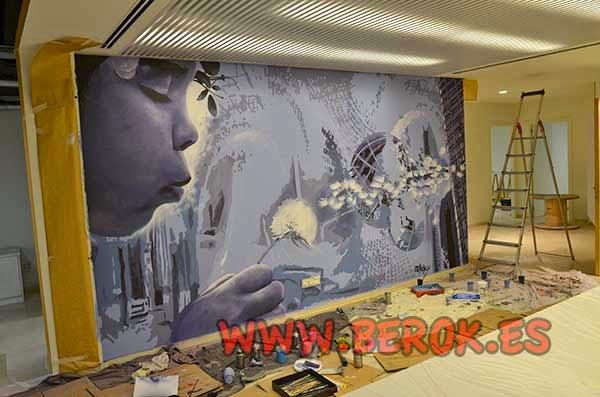 graffiti de niña soplando diente de león volando