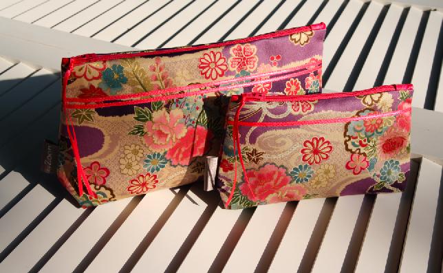 Trousse geisha- 26/14cm -  tissu japonais  & mini trousse- Série épuisée -