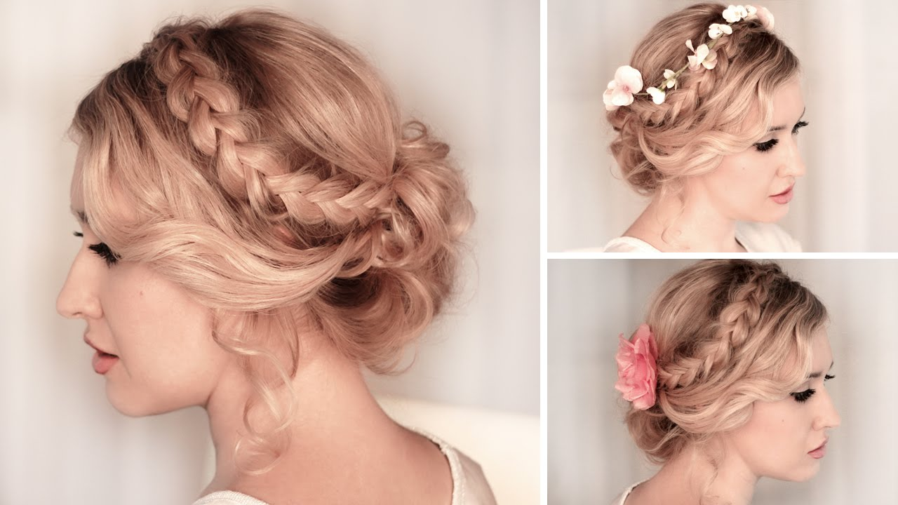 Side Braid Hairstyle Along With A Messy Bun