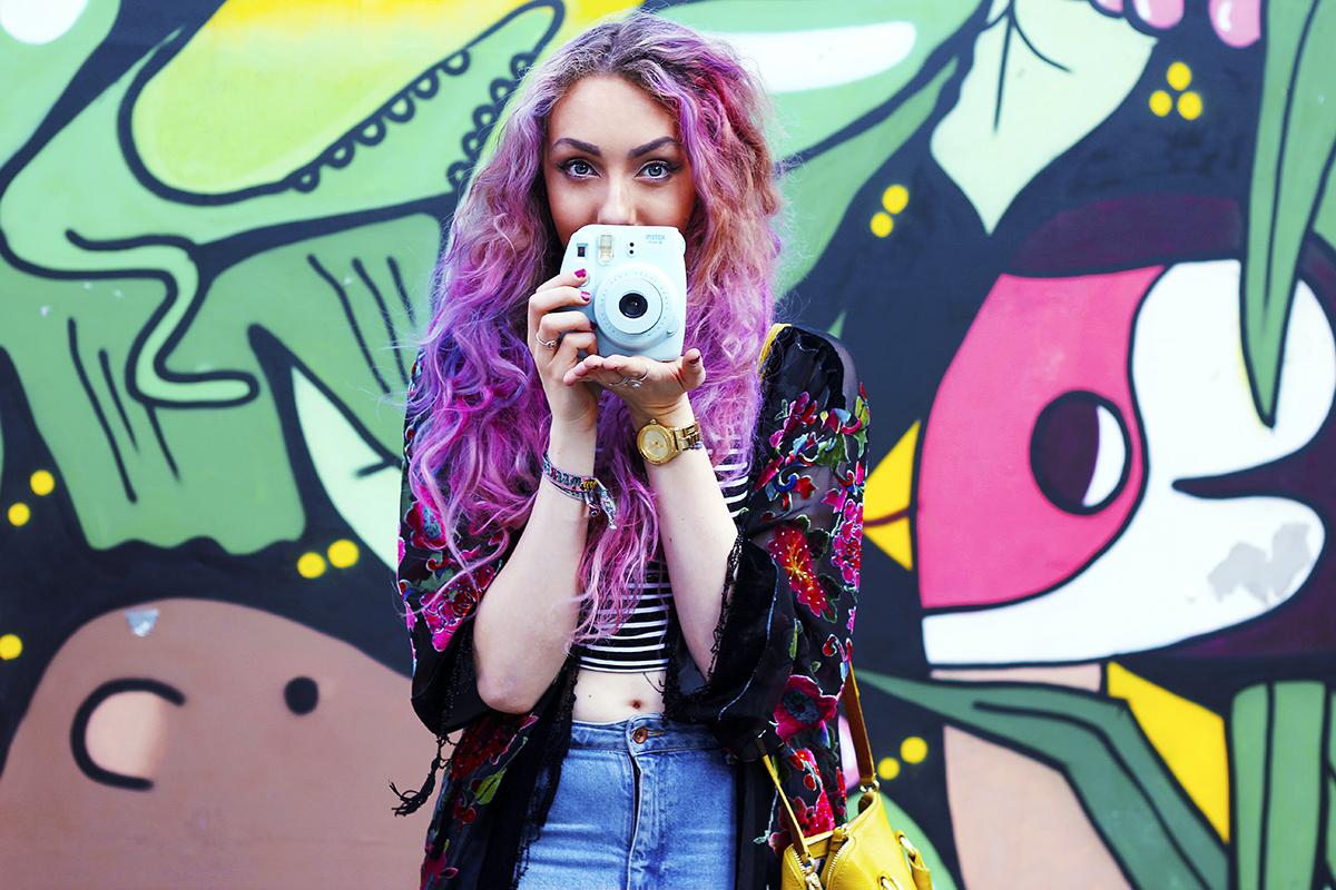 Pink pastel hair fuji instax camera