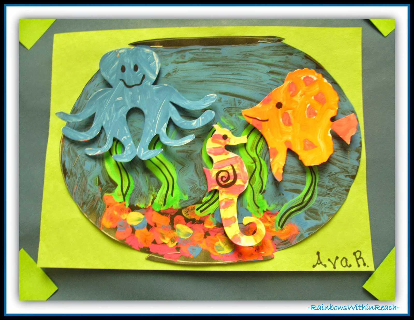 Ocean Themed Bulletin Board Detail {Ocean RoundUP at RainbowsWithinReach}