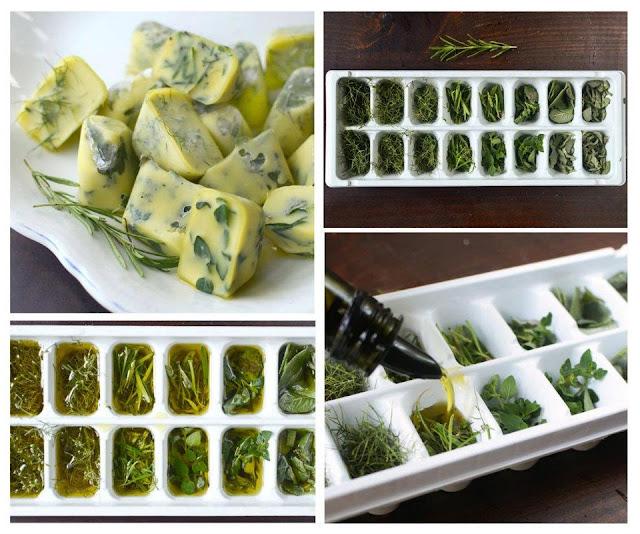 Como congelar ervas frescas com azeite ou manteiga