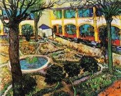 O pátio do hospital em Arles - 1889