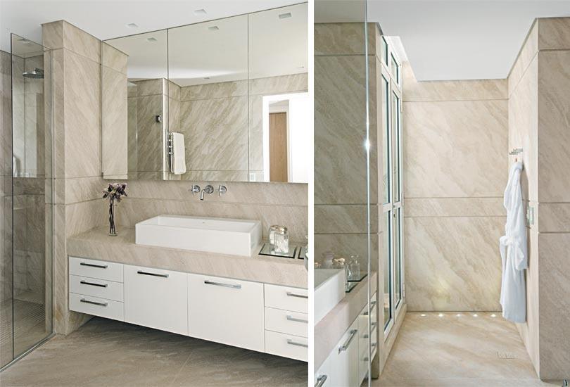 Construindo uma casinha -> Banheiro Bege E Branco Simples