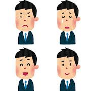スーツを着た男性の表情のイラスト「怒った顔・泣いた顔・笑った顔・笑顔」