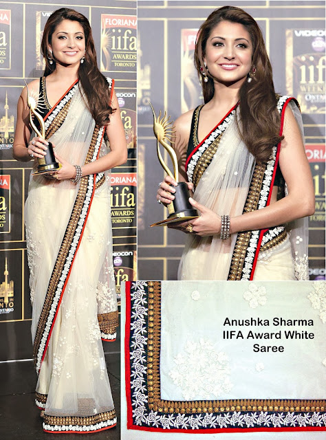 Anushka Sharma In Off White Saree At IIFA Awards