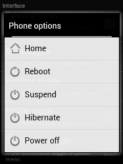 Default Power button Menu without toogles