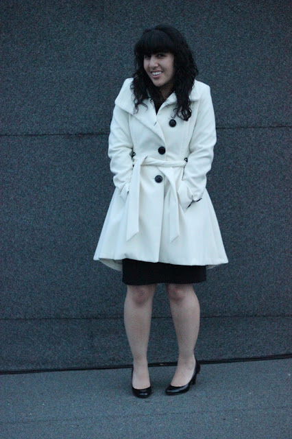 Winter Coat and Black Dress