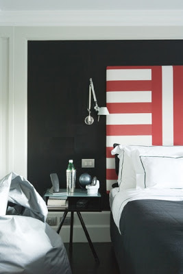 red and white striped headboard