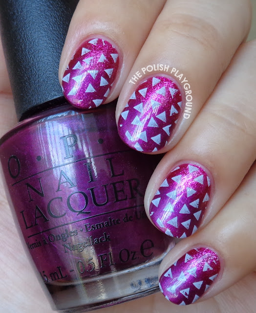 Pink and Purple Gradient with Scattered Triangles Nail Art