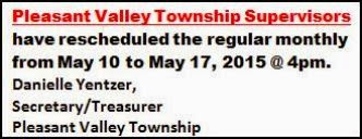 5-10/17 Pleasant Valley Meeting Rescheduled