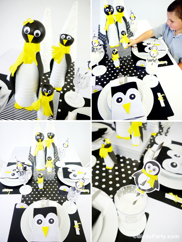 A Penguin Inspired Black, White and Yellow Chic Christmas Kids Table with Free Printables