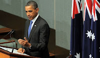 President Obama addresses the Australian Parliament in Canberra, Australia.