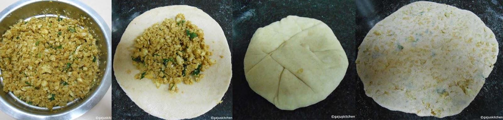 making cauliflower paratha