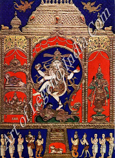 Shiva as Nataraja, Lord of the Cosmic Dance, Wiht Parvati (as Shiwakami), Vishnu (as Govindaraja), Nandi and Devotees Thanjavur Painting