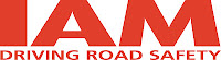IAM org logo in red, driving road safety