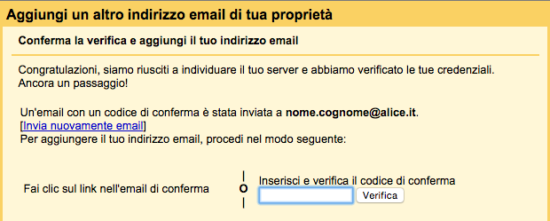 codice di verifica dell'account