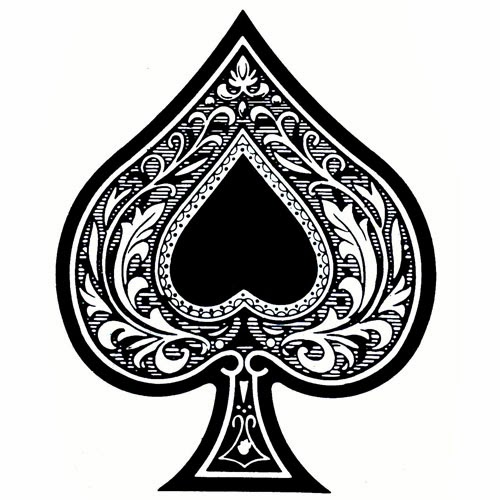 Ace of spades with heart tattoo stencil