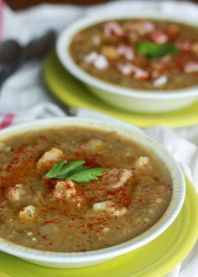 Vegetarian Split Pea Soup with Cauliflower and Smoked Paprika, from Kitchen Treaty via SlowCookerFromScratch.com