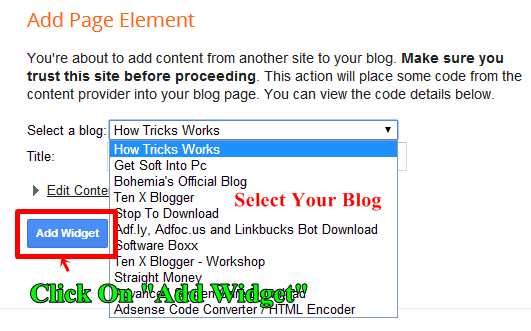 Select Blog and Click on Add Widget