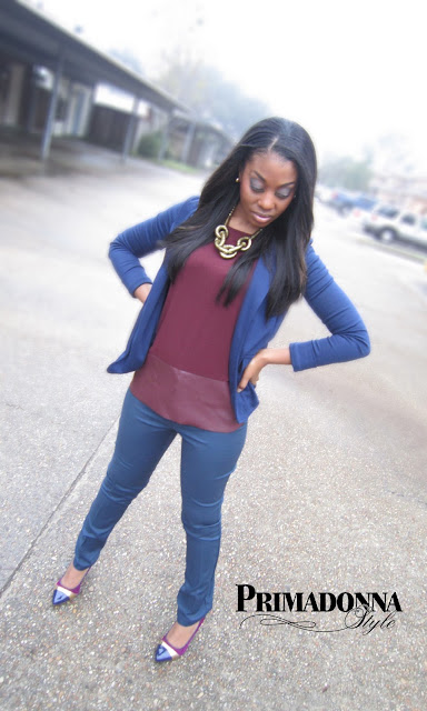 How to wear Navy Blue and Burgundy Wine Oxblood Outfit Inspiration Ideas
