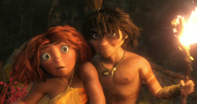 Emma Stone and Ryan Reynolds voice characters in THE CROODS