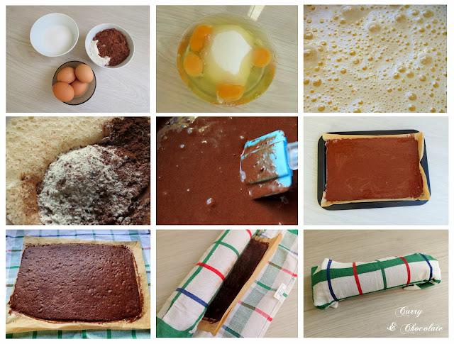 Tronco de Navidad con chocolate, café y dulce de leche - preparación de la plancha
