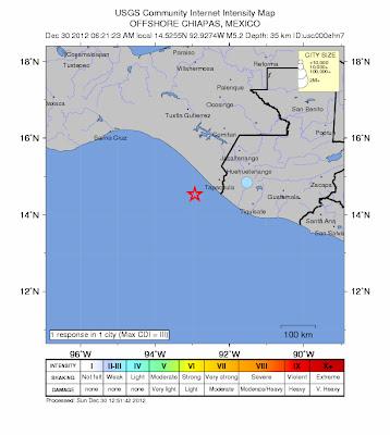 Epicentro sismo 5,3 grados México, 30 de Diciembre 2012
