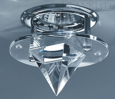 The FRX112 Bathroom Chrome Recessed Downlight with a Conical Crystal Glass