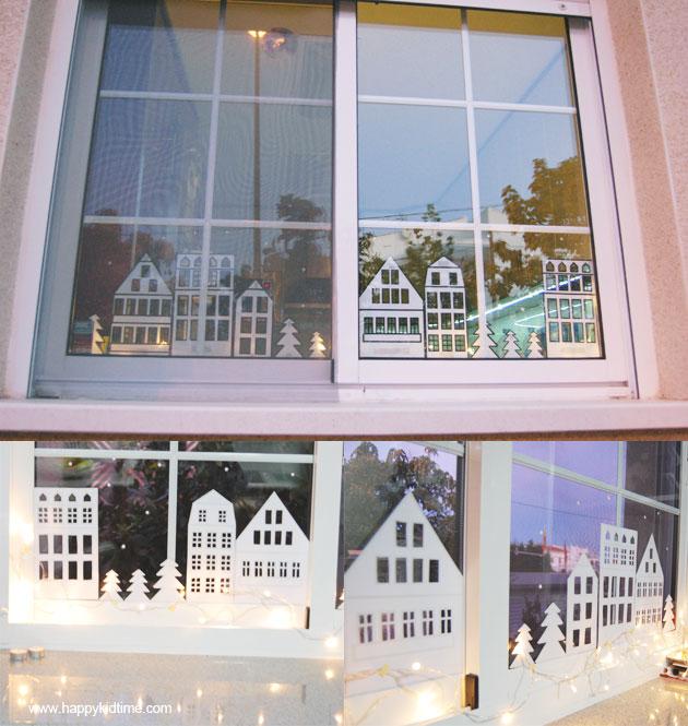 Adornos navideños casitas de papel