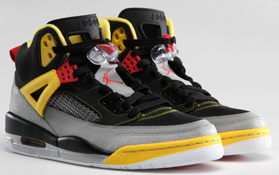 This Jordan Spiz'ike comes in a black, challenge red, metallic silver and tour  yellow colorway.