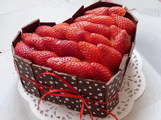 Tarta de fresa con chocolate