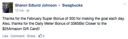 Thanks for the February Super Bonus of 300 for making the goal each day.