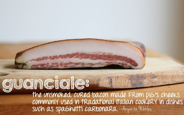 Guanciale unsmoked cured bacon made from pig cheeks definition on www.anyonita-nibbles.com