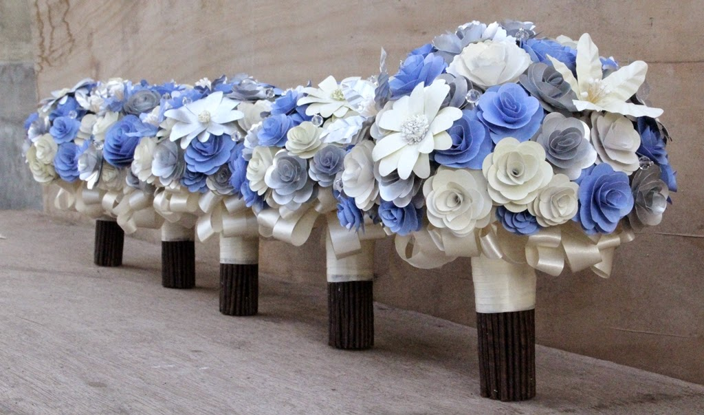 Silver blue and cream paper wedding bouquets and boutonnieres these bouquets made of paper flowers were custom made for katie another wonderful bride from australia her colors are silver blue and cream mightylinksfo