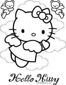 Desenhos Preto e Branco o it hello kitty Colorir