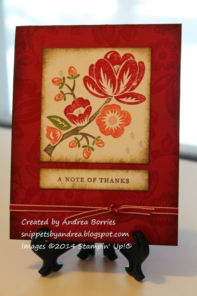 Card featuring Hey There Buds stamp as the focal image and stamped repeatedly to make the background.
