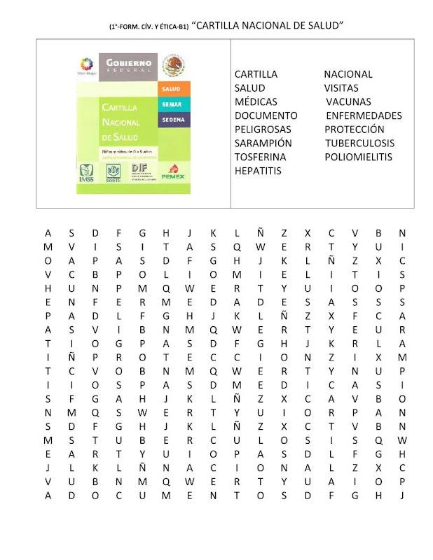 Sopa de letras de la cartilla nacional de salud