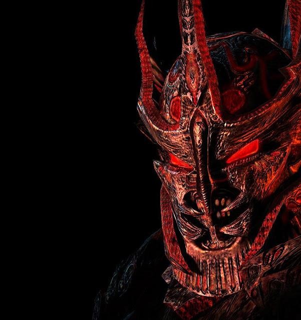 Mago negro com olhos vermelhos e elmo, corpo astral decomposto