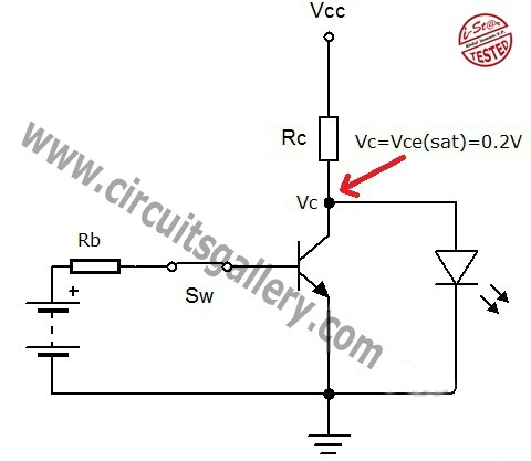 transistor act as a switch working and transistor switching, circuit diagram
