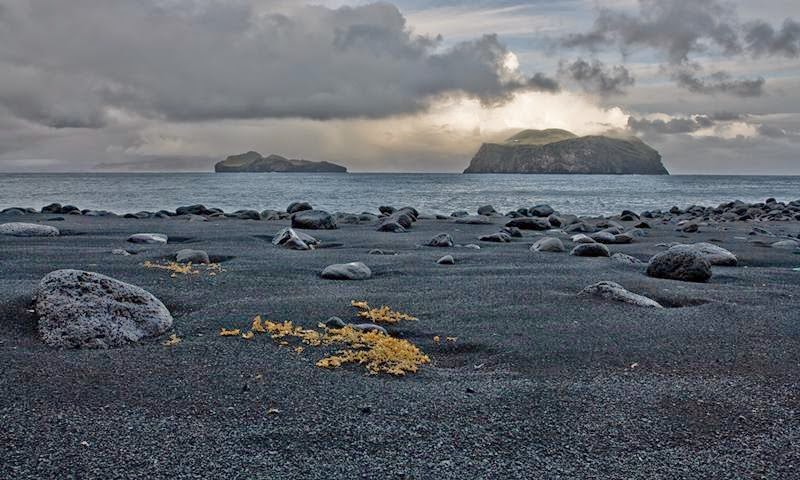 Black rocky beach, Those two islands are named Elliðaey and Bjarnerey.