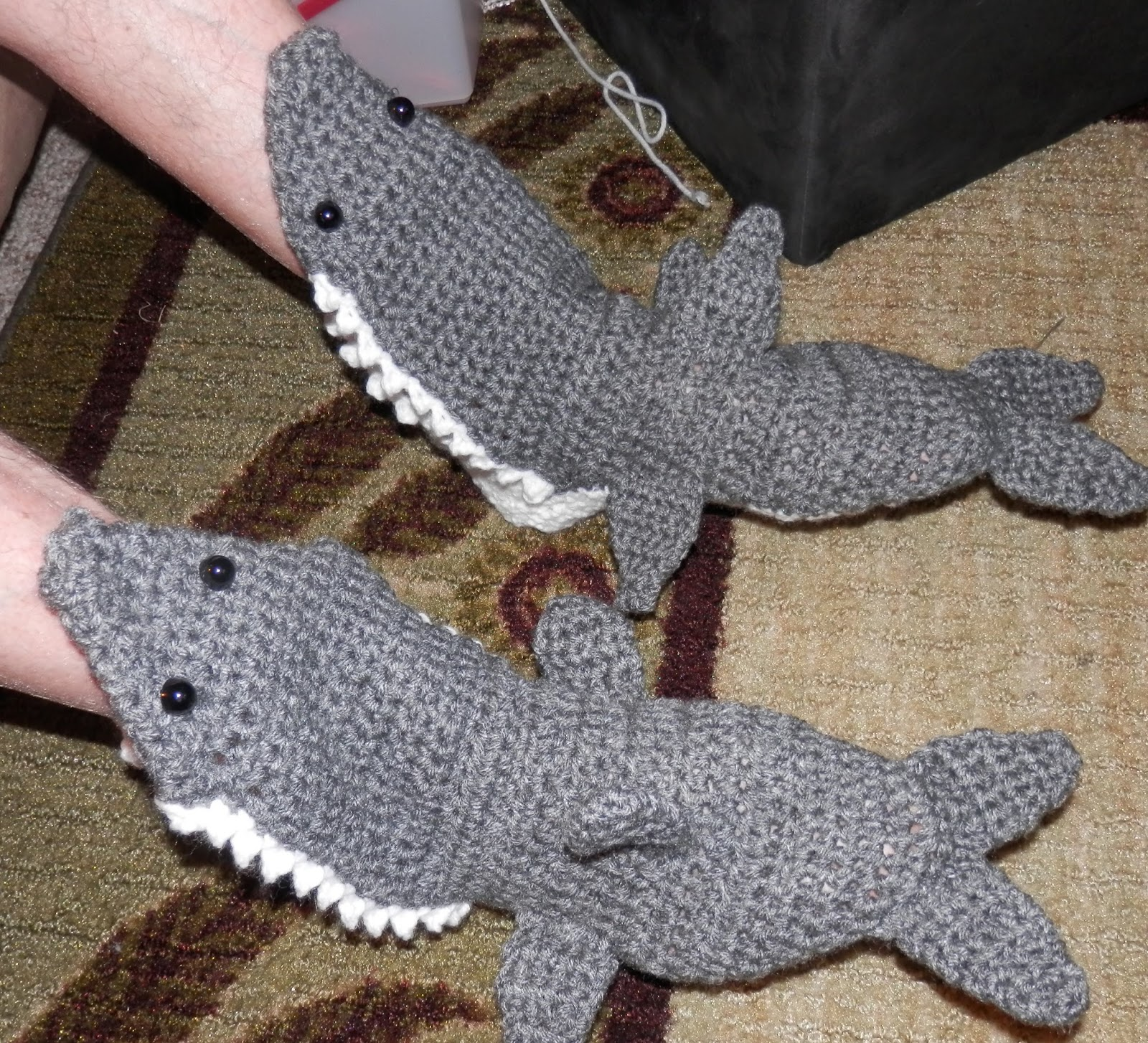 Crochet Shark Shoes Free Pattern : Karens Crocheted Garden of Colors: Shark Slippers