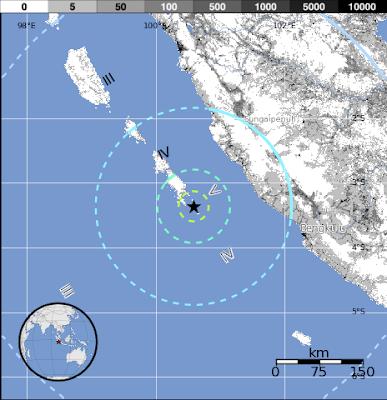 Epicentro terremoto de 6,3 grados de magnitud sacudió Kepulauan Mentawai Región, Indonesia el 14 de septiembre de 2012