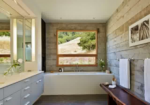 Interior design ideas for bathroom glossy white surfaces in contrast to raw concrete wall. 32 Living Ideas for Bathrooms  simply as a synonym for modern