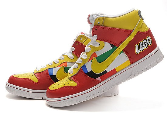Colorful Lego Toy Pattern Nike Dunk Shoes For Adults Red Yellow